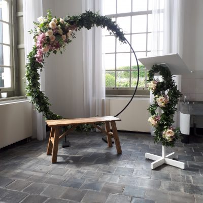 teak houten bankje trouwbankje stoer hout rustic natuur