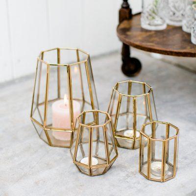 windlichten huren bruiloft goud glas theelichthouder waxinelichten