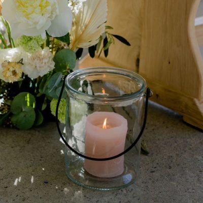 windlicht bruiloft huren glas vaas kaarsenstandaard decoratie zwart sfeervol