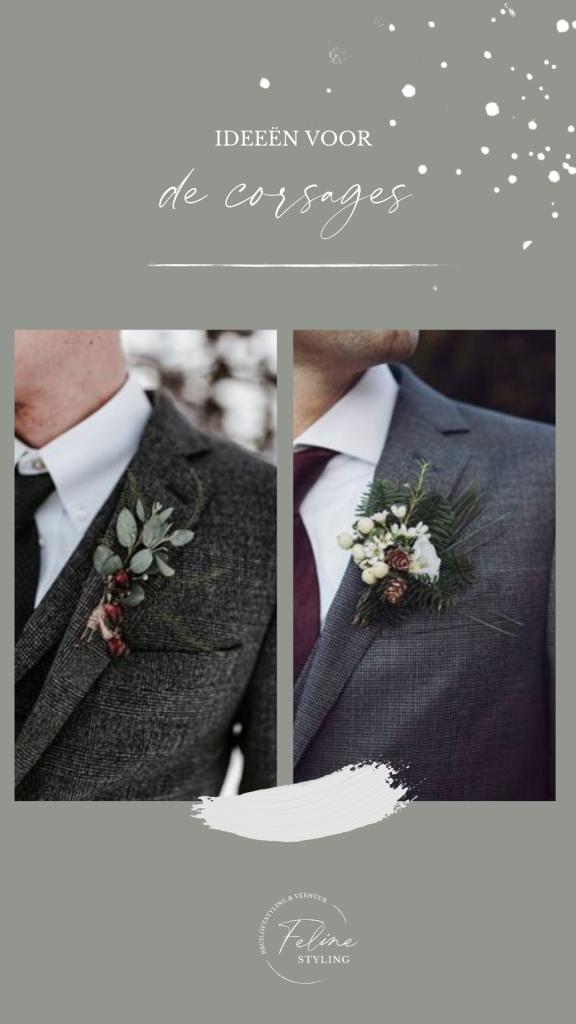 corsage winter bruiloft decoratie ideeen