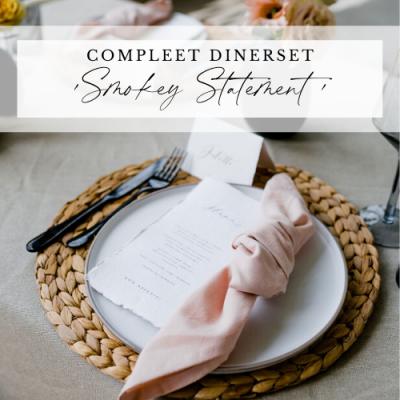 diner pakket styling decoratie tafel bruiloft aankleding riet huren