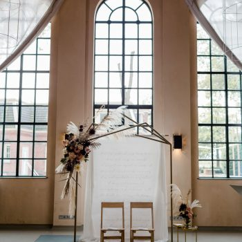 decoratie bruiloft backdrop goud en rood